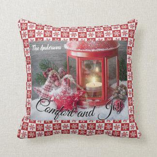 För lyktasnowflaken för jul kudder den röda kudde