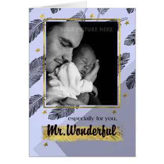 För make på beställnings- fotokort för fars dag hälsningskort