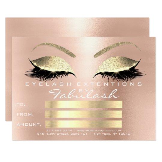 För Makeupcertifikat för lyxiga snärtar rosa guld- 11,4 X 15,9 Cm Inbjudningskort