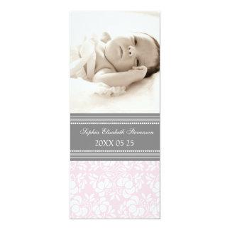 För mallnyfödd bebis för rosor grått meddelande 10,2 x 23,5 cm inbjudningskort