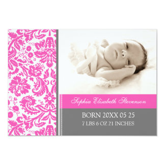 För mallnyfödd bebis för rosor grått meddelande 12,7 x 17,8 cm inbjudningskort