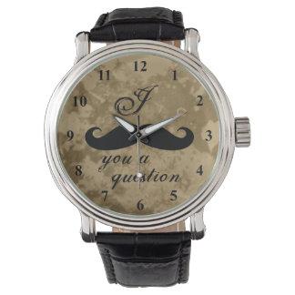 För manar vintagemustaschklocka armbandsur