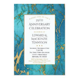 För marmorårsdag för blått guld- inbjudan för