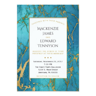 För marmorbröllop för eleganta blått guld- 12,7 x 17,8 cm inbjudningskort