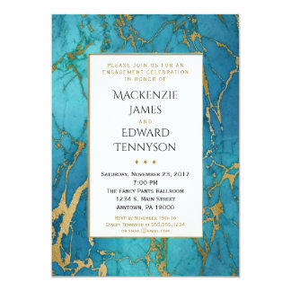 För marmorförlovningsfest för blått guld- inbjudan