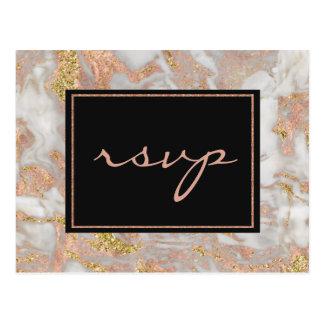 För marmorMonogram för modern Faux rosa guld- OSA Vykort