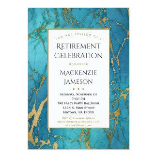 För marmorpension för eleganta blått guld- 12,7 x 17,8 cm inbjudningskort