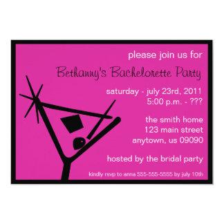För Martini för Bachelorette partyinbjudan hallon 12,7 X 17,8 Cm Inbjudningskort