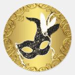 För maskeradparty för elegant svart guld- runda klistermärken