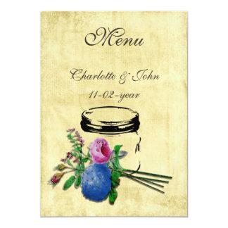 för masonburk för vintage mrustic meny för bröllop 12,7 x 17,8 cm inbjudningskort