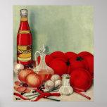 För mattomat för vintage italiensk Catsup för Affisch