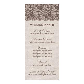 För menybröllop för Burlap lantlig mall för meny