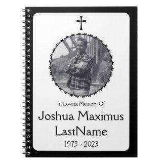för minnesgudstjänstgäst för elegant arg bok anteckningsbok med spiral