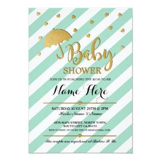 För Mintparaply för baby shower guld- inbjudan för
