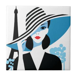 För modechic för mode fransk stilfull illustration liten kakelplatta