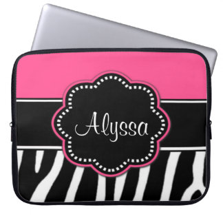 För Monogrambärbar dator för zebra tryck rosa fodr Laptopskydd Fodral