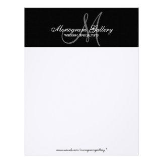 För Monogrambrevhuvud för elegant svart papper för Brevhuvud
