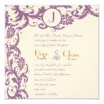 För Monogrambröllop för plommon damastast orange Fyrkantigt 13,3 Cm Inbjudningskort