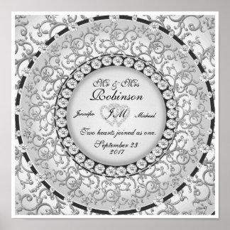 För Monogrambröllop för två hjärtor mönster Poster