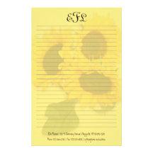 För Monogramhandstil för gula solrosor personligt Stationär