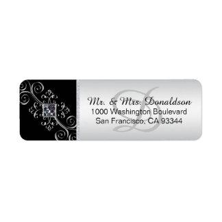 För Monogramkuvert för silver svart returadress Returadress Etikett