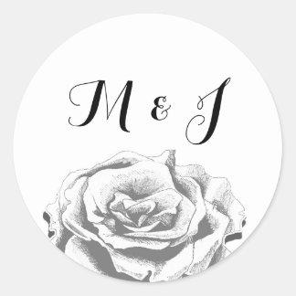 För Monogramrunda för Minimalist vintage rosa Runt Klistermärke