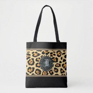 För Monogramsvart för Leopard hänger lös den Tygkasse