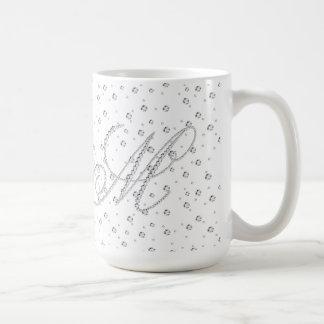 För Monogramvit för M initialt tryck för diamanter Kaffemugg