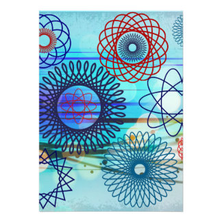 För mönsterblått för skraj Spirograph geometrisk d Anpassade Inbjudan