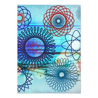 För mönsterblått för skraj Spirograph geometrisk 12,7 X 17,8 Cm Inbjudningskort