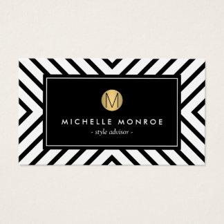 För mönsterguld för Retro mod svartvit Monogram Visitkort