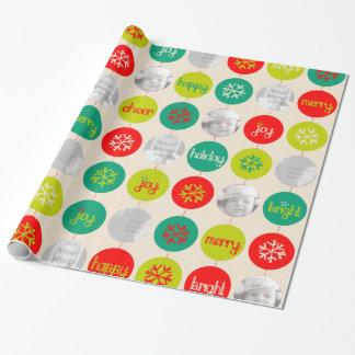 För mönsterjul för Bauble rött grönt neutralt foto Presentpapper