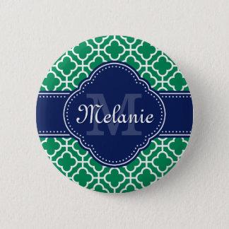 För mönstermarin för smaragd grön vit marockansk standard knapp rund 5.7 cm