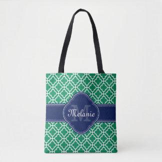 För mönstermarin för smaragd grön vit marockansk tygkasse
