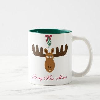 För Moose_Happy för älgHead_Merry kyss år Gnu! Två-Tonad Mugg