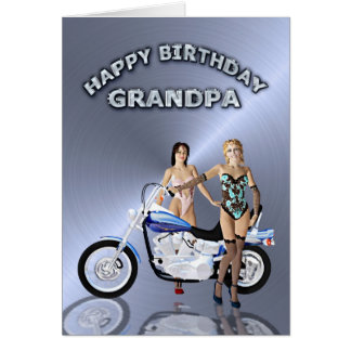 För morfar, födelsedag med flickor och en hälsningskort