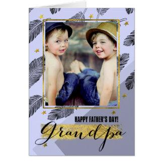 För morfar på beställnings- fotokort för fars dag hälsningskort