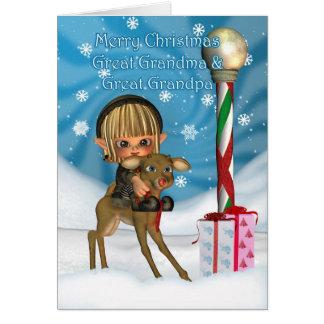För morförälderälva för jul stor- ren, Rudolf, Hälsningskort