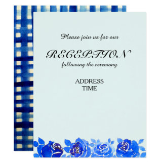 För mottagandeinbjudan för indigoblå blått blom- 10,8 x 14 cm inbjudningskort