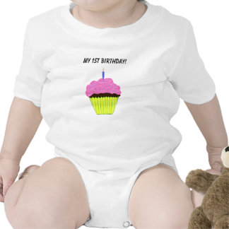 För muffinspädbarn för gullig 1st födelsedag rosa sparkdräkter