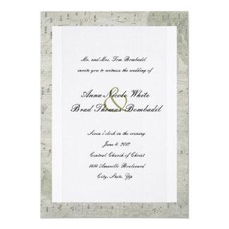 För musikbröllop för vintage ro inverterad 12,7 x 17,8 cm inbjudningskort