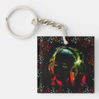 För musikhörlurar för flickan färgar lyssnande fyrkantigt dubbelsidigt nyckelring i akryl