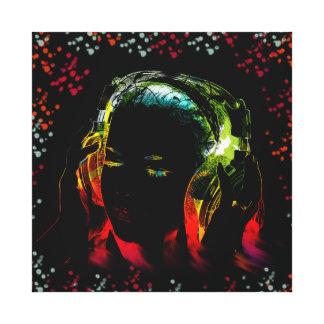 För musikhörlurar för flickan färgar lyssnande neo canvastryck