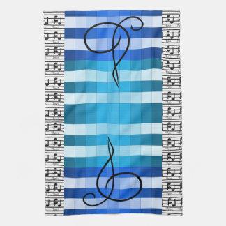 För musikmusiker för blått märkes- musikalisk gåva kökshandduk