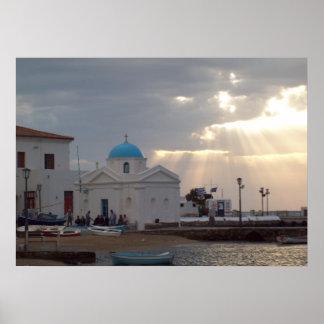 För Mykonos för ortodox kyrklig Grekland ö affisch