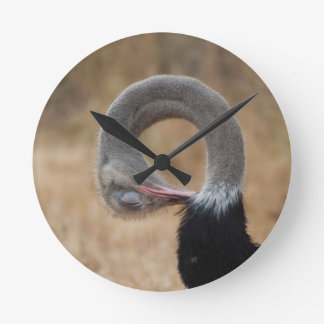 För nackekrullning för rolig Ostrich full bild Rund Klocka