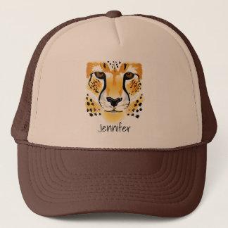 för närbildillustration för cheetah head namn truckerkeps