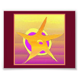 För nattabstrakt för guld- stjärna purpurfärgad fototryck