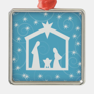 För nattNativity för blått helig prydnad för jul Silverfärgad Fyrkantigt Julgransprydnad