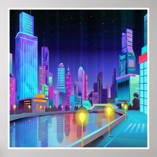 För nattplats för stor stad affisch för konst